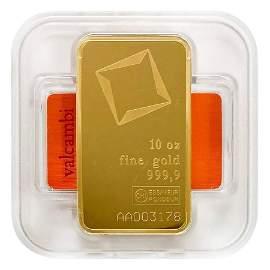 10 oz Gold Bar Valcambi Suisse .9999 Fine (w/Assay)