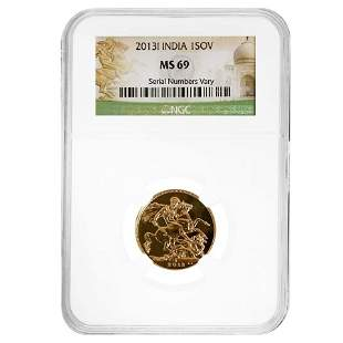2013-I India Gold Sovereign NGC MS 69