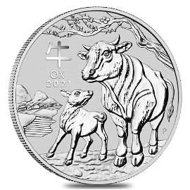 2021 5 oz Silver Lunar Year of The Ox BU Australian