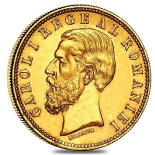 20 Lei Romania Carol I Gold Coin Avg Circ AGW .1867 oz