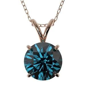 1.50 ctw Certified Intense Blue Diamond Necklace 10k