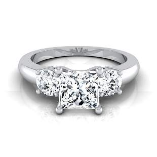 1 1/4ctw Princess Cut Center 3 Stone Engagement Ring In