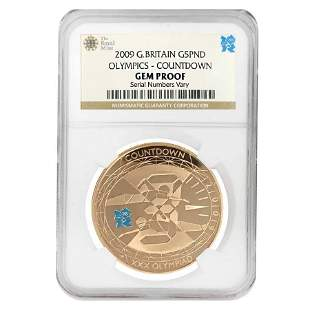 2009 Great Britain Proof Gold 5 Pounds Olympics