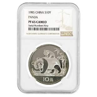 1985 27 gram Chinese Silver Panda 10 Yuan NGC PF 65