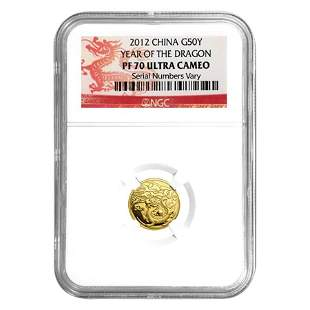 2012 1/10 oz Chinese Gold Lunar Year of the Dragon 50