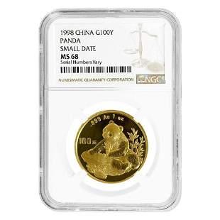 1998 1 oz Chinese Gold Panda 100 Yuan Small Date NGC MS