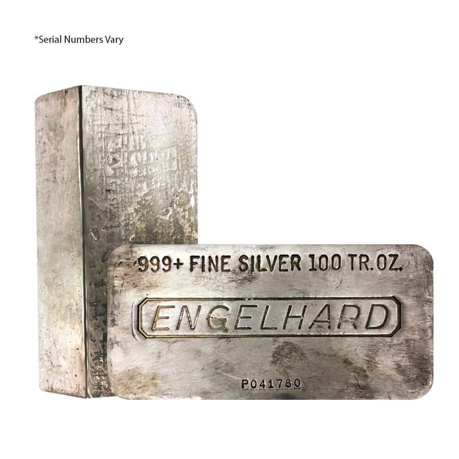 100 oz Engelhard Silver Hand Poured Vintage Bar .999+