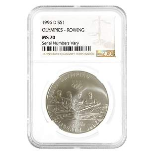 1996 D Olympics Rowing $1 Silver Dollar Commemorative