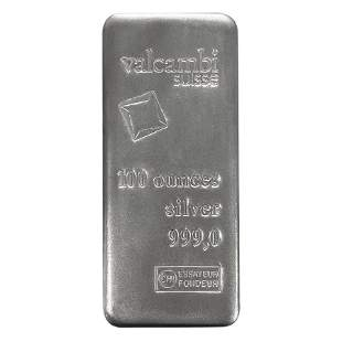 100 oz Silver Bar Valcambi Suisse .999 Fine (Sealed)