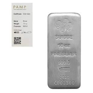 10 oz PAMP Suisse Silver Cast Bar .999 Fine (w/Assay)