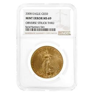 2008 1 oz $50 Gold American Eagle NGC MS 69 Mint Error