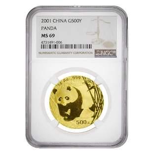 2001 1 oz Chinese Gold Panda 500 Yuan NGC MS 69