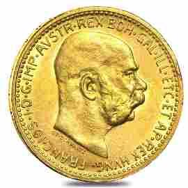 Austria Gold 10 Coronas AGW .098 oz Avg Circ (Random