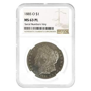 1885 O Morgan Silver Dollar $1 NGC MS 63 PL