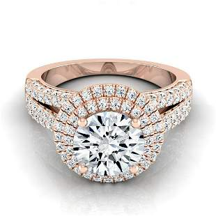 1 2/3ctw Round Diamond Double Halo Engagement Ring With