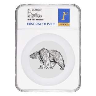 2021 Chad 1 oz Silver Bear Shaped Coin NGC MS 70 FDOI