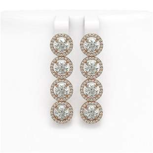 5.36 ctw Diamond Micro Pave Earrings 18K Rose Gold