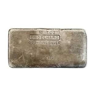 50 oz Engelhard Cast Silver Bar .999+ Fine (3rd Series)