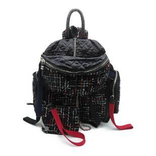 Authentic CHANEL Backpack Rucksack Black Tweed