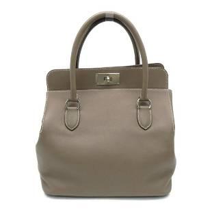 Authentic HERMES Toolbox 26 Shoulder Bag Etoupe Veau