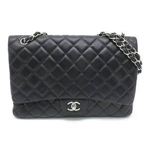 Authentic CHANEL Maxi Jambo Shoulder Bag Black Lambskin