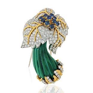 1970's 18K Yellow Gold 15 carat Diamond & Sapphire