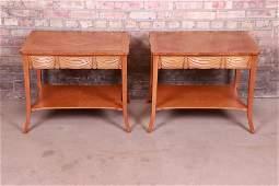 Baker Furniture Trompe l'Oeil Draped Front Cherry Wood