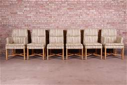 Baker Furniture Modern Upholstered X-Base Dining Chairs