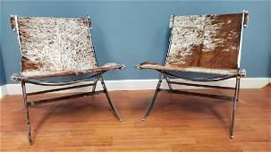 Mid Century Modern Chrome Base Custom Sling Chairs