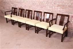 Edward Wormley for Dunbar Walnut Dining Chairs Set of