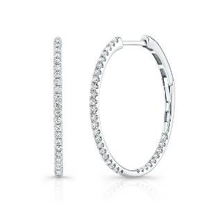 Diamond Pave Inside-out Hoop Earrings With Secure