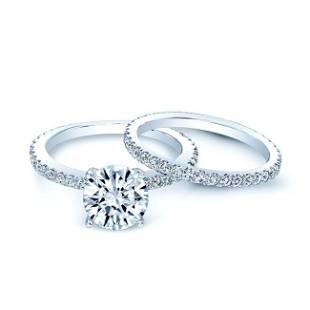 Diamond Wedding Set Semi Mount With 2ct Round Cz Center