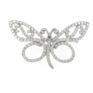 Authentic K18 White Gold Butterfly Diamond brooch
