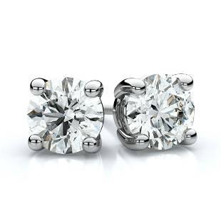 Platinum 4-prong Round Brilliant Diamond Stud Earrings