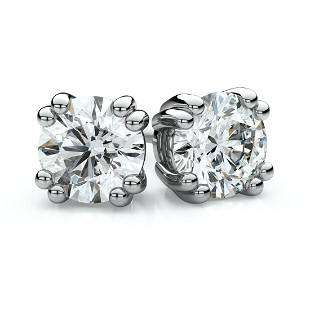Platinum Double Prong Round Diamond Stud Earrings 2ctw