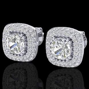 2.16 ctw Micro Pave VS/SI Diamond Earrings Halo 18k