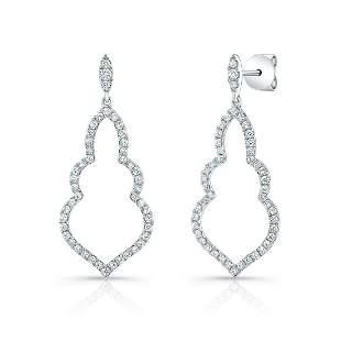 Diamond Open Damask Dangle Earrings In 14k White Gold