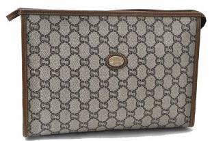 Authentic GUCCI GG Plus Clutch Bag PVC Leather Brown