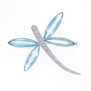 Authentic K18 White Gold Dragonfly Blue Topaz brooch