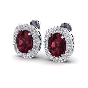 5.20 ctw Garnet & Micro Pave VS/SI Diamond Earrings 10k