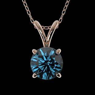 0.73 ctw Certified Intense Blue Diamond Necklace 10k