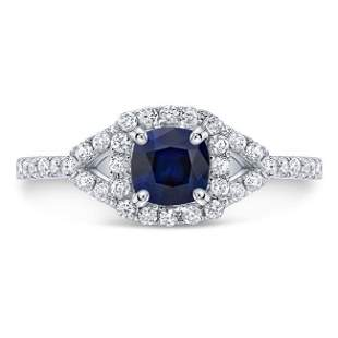 Sapphire And Diamond Cushion Halo Engagement Ring In