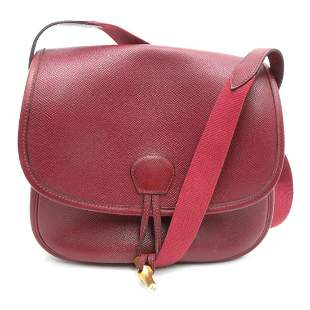 Authentic HERMES Duffle Bamboo Shoulder Bag Red Graine