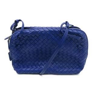 Authentic BOTTEGA VENETA Shoulder Bag Blue Lambskin