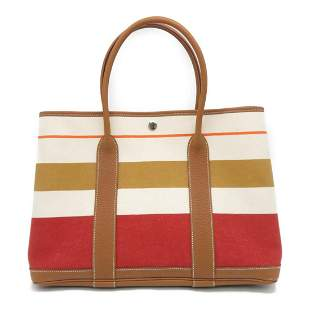 Authentic HERMES GardenParty PM Tote Bag Canvas