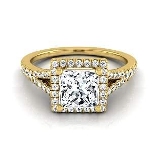 1 1/4ctw Princess Cut Diamond Halo Engagement Ring With