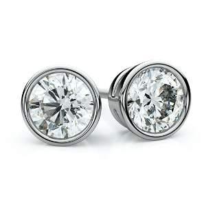 Platinum Bezel Set Round Brilliant Diamond Stud