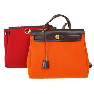 Authentic HERMES HERBAG PM 2 in 1 2way Hand Bag