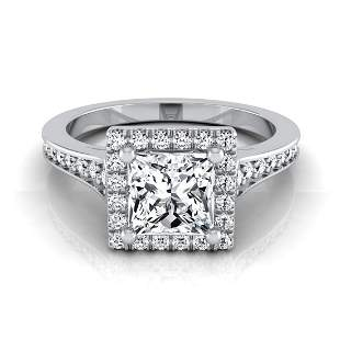 1 1/3ctw Princess Cut Diamond Engagement Ring With