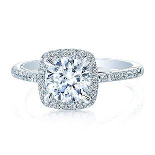 Round Diamond With Square Halo Engagement Ring In 14k